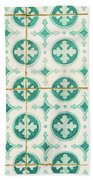 Green Lucky Charm Lisbon Tiles Beach Towel