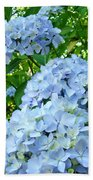 Green Nature Landscape Art Prints Blue Hydrangeas Flowers Beach Towel