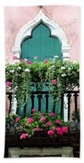 Green Ornate Door With Geraniums Beach Towel