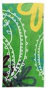 Green Paisley Garden Beach Towel