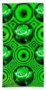 Green Polka Dot Roses Fractal Beach Towel