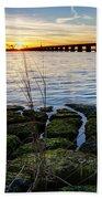 Green Rock Sunset Beach Towel