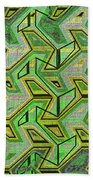 Green Steps Abstract Beach Towel