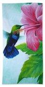Green-throated Carib And Pink Hibiscus Beach Towel