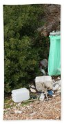 Green Trash Bag And Rubbish In Croatia Beach Towel