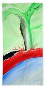 Green Tree Red Ridge Beach Towel