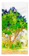 Green Trees By The Lake Beach Towel
