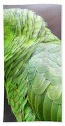 Green Tropical Parrot, Side View. Beach Towel