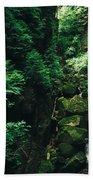 Green Waterfall Beach Towel