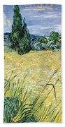 Green Wheatfield With Cypress Beach Towel
