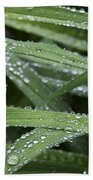 Green With Rain Drops Beach Towel