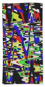 Green Yellow Blue Red Black And White Abstract Beach Towel