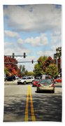 Greensboro Georgia Corner Of Main Street And Broad Street Fall Leaves Greensboro Georgia Art Beach Towel