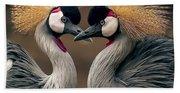 Grey Crowned Cranes Of Africa Beach Towel