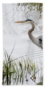 Grey Heron #3 Beach Towel