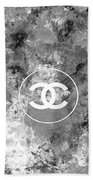 Grey White Black Chanel Logo Print Beach Towel