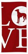 Greyhound Love Red Beach Towel