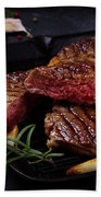 Grilled Beef Steak Beach Towel