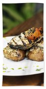Grilled Fish With Roast Potato Herbs And Garlic Beach Towel
