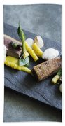 Grilled Pork Sour Cream And Vegetables On Modern Grey Slate Beach Towel