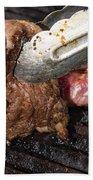 Grilling Steak Beach Towel