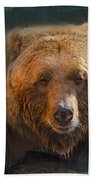 Grizzly Bear Portrait Beach Towel