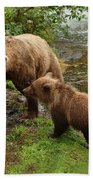 Grizzly Dinner For Two Beach Towel