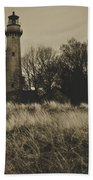 Grosse Point Lighthouse Sepia Beach Towel