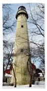 Grosse Point Lighthouse Winter Beach Towel