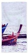 Group Of Fishing Boats Beach Towel