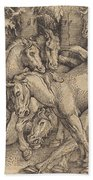 Group Of Seven Horses In Woods Beach Towel