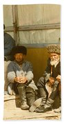 Group Of Uzbek Retirees Beach Towel