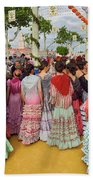 Group Of Young Female Students Dressed In Flamenco Dresses At Th Beach Towel