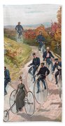 Group Riding Penny Farthing Bicycles Beach Towel