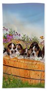 Growing Puppies Beach Towel