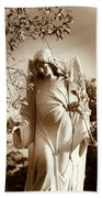 Guardian Angel Bw Beach Towel