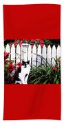 Guarding The Rose Garden Beach Towel