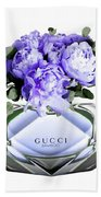 Gucci Perfume With Flower Beach Towel