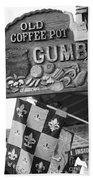 Gumbo Sign - Black And White Beach Towel