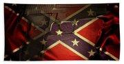 Gun And Confederate Flag Beach Sheet