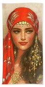 Gypsy Girl Portrait Beach Sheet