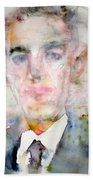 H. P. Lovecraft - Watercolor Portrait.3 Beach Towel