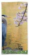 Haiku, Heron And Cherry Blossoms Beach Towel