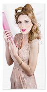 Hair Style Model. Pinup Girl With Large Pink Comb Beach Towel