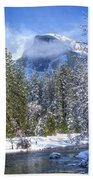 Half Dome And The Merced River Beach Towel