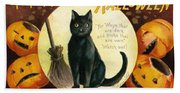 Halloween Greetings With Black Cat And Carved Pumpkins Beach Sheet
