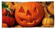 Halloween Pumpkin Smiling Beach Towel