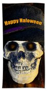 Halloween Skull With Hat Beach Sheet