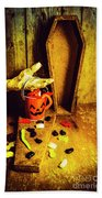 Halloween Trick Of Treats Background Beach Towel