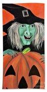 Halloween Witch And Pumpkin Art Beach Towel
